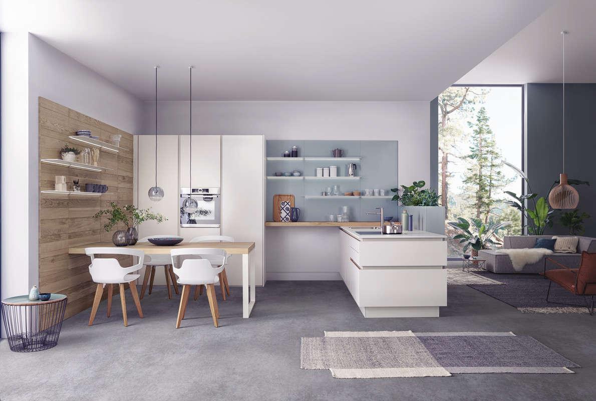 Design keuken van harmonisch eiken/wit