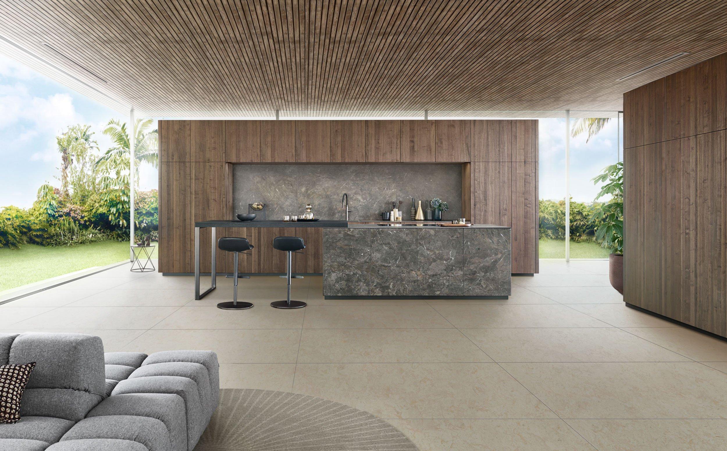 Designkeuken van esthetisch walnotenhout